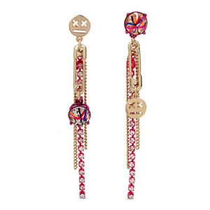 BETSEY JOHNSON Emoji Chain Drop Earrings